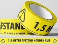 """Waarschuwingstape PVC bedrukt: """"1,5 METER AFSTAND HOUDEN AUB"""""""
