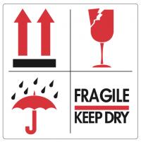 """Handling etiket """"Fragile / Keep dry"""""""
