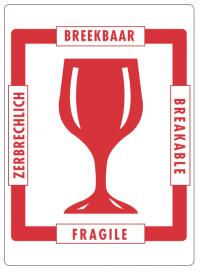 """Handling etiket """"Breekbaar"""" (type 3)"""