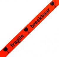 Waarschuwingstape PVC Fragile/Breekbaar (fluor oranje/zwart)