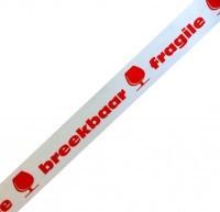 Waarschuwingstape PP Fragile/Breekbaar (wit/rood)