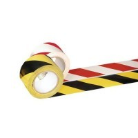 Vloertape rood/wit (50mm x 33mtr)